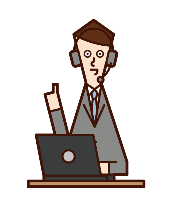 Illustration of customer support telephone operator call center (male) against advice