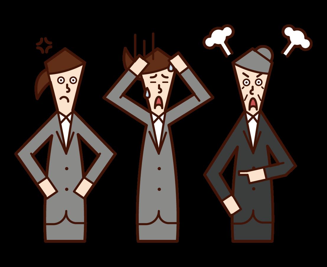 中層管理人員、科長和經理(女性)插圖