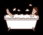 Illustration of a woman taking a bubble bath