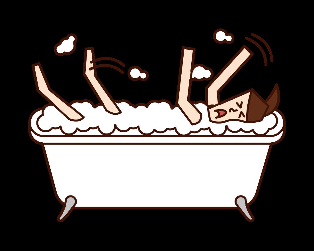 욕조에서 익사한 사람(여성)의 일러스트