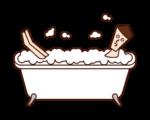 Illustration of a man taking a bubble bath