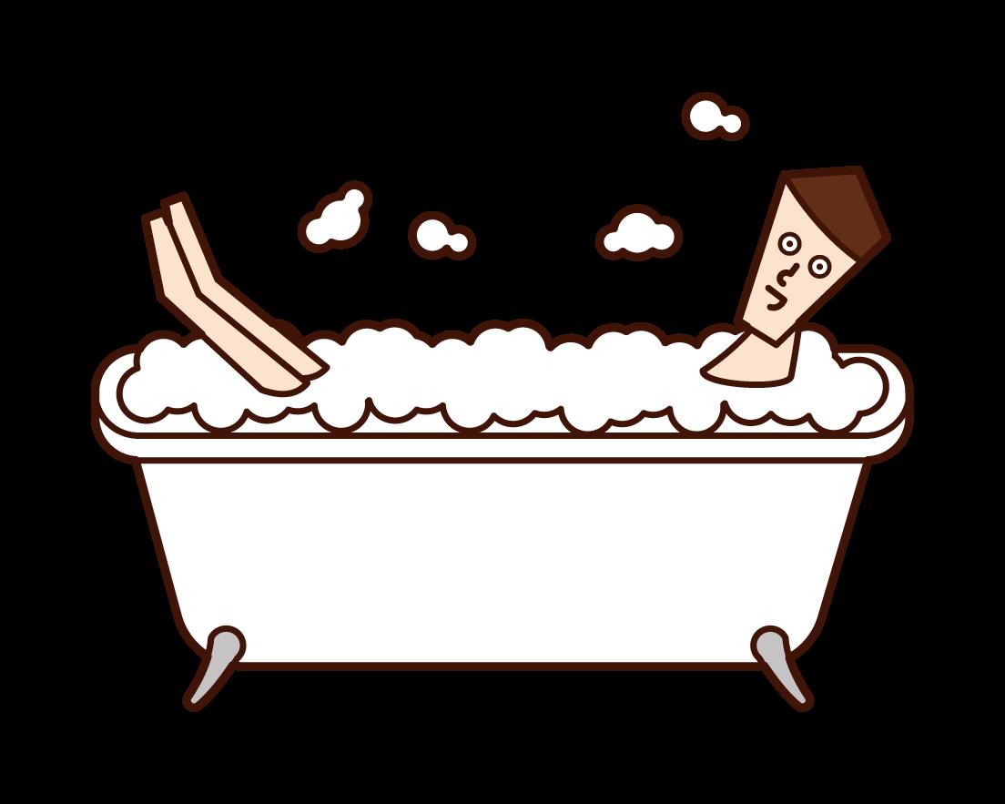 거품 목욕 의 사람들 (남성)의 그림