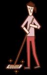 用拖把清潔的人(女性)的插圖