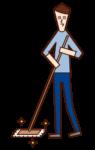 モップで掃除する人(男性)のイラスト