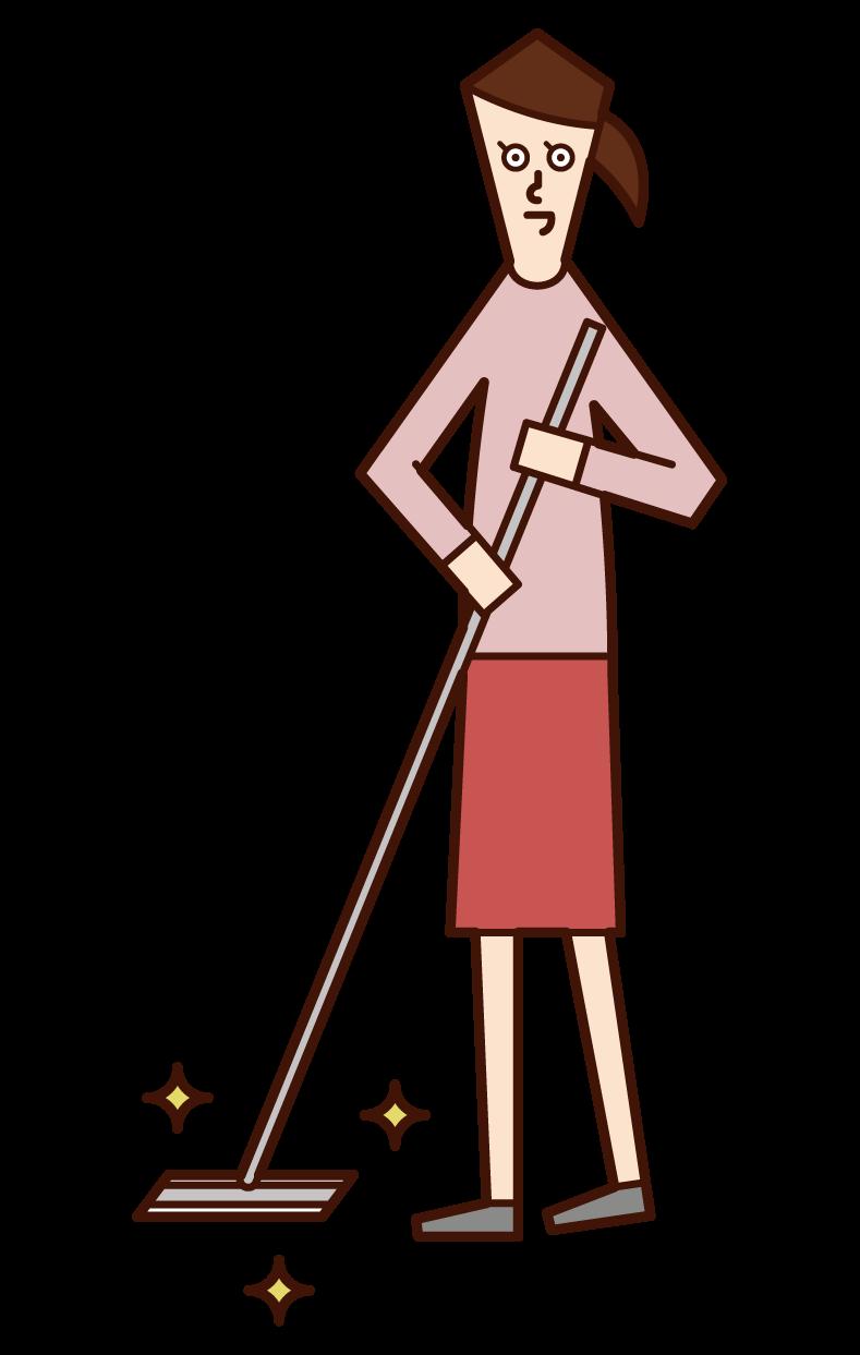 用地板刮水器清潔地板的人(女孩)的插圖