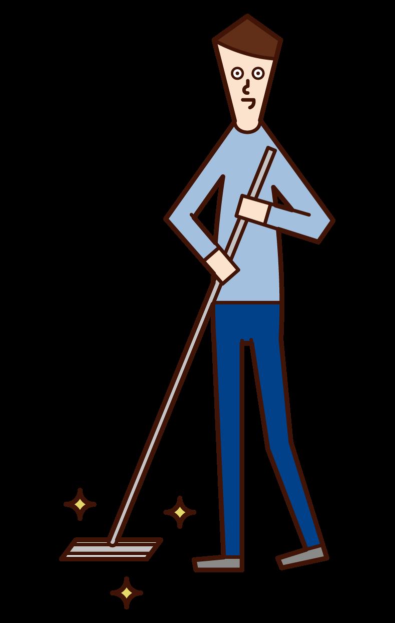 用地板刮水器清潔地板的人(男孩)的插圖