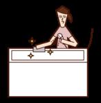 清潔浴缸的人(女性)的插圖