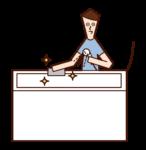 清潔浴缸的人(男性)的插圖