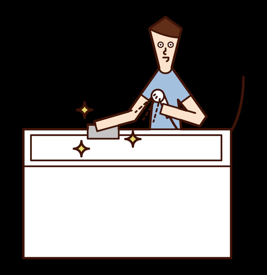 お風呂を掃除する人(男性)のイラスト