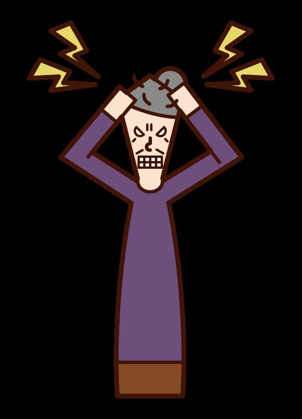히스테리 사람 (할머니)의 그림