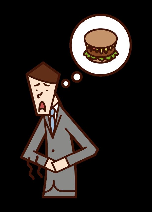 饑餓的人(男性)插圖