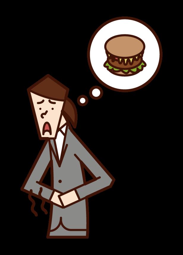 饑餓的人(女人)的插圖