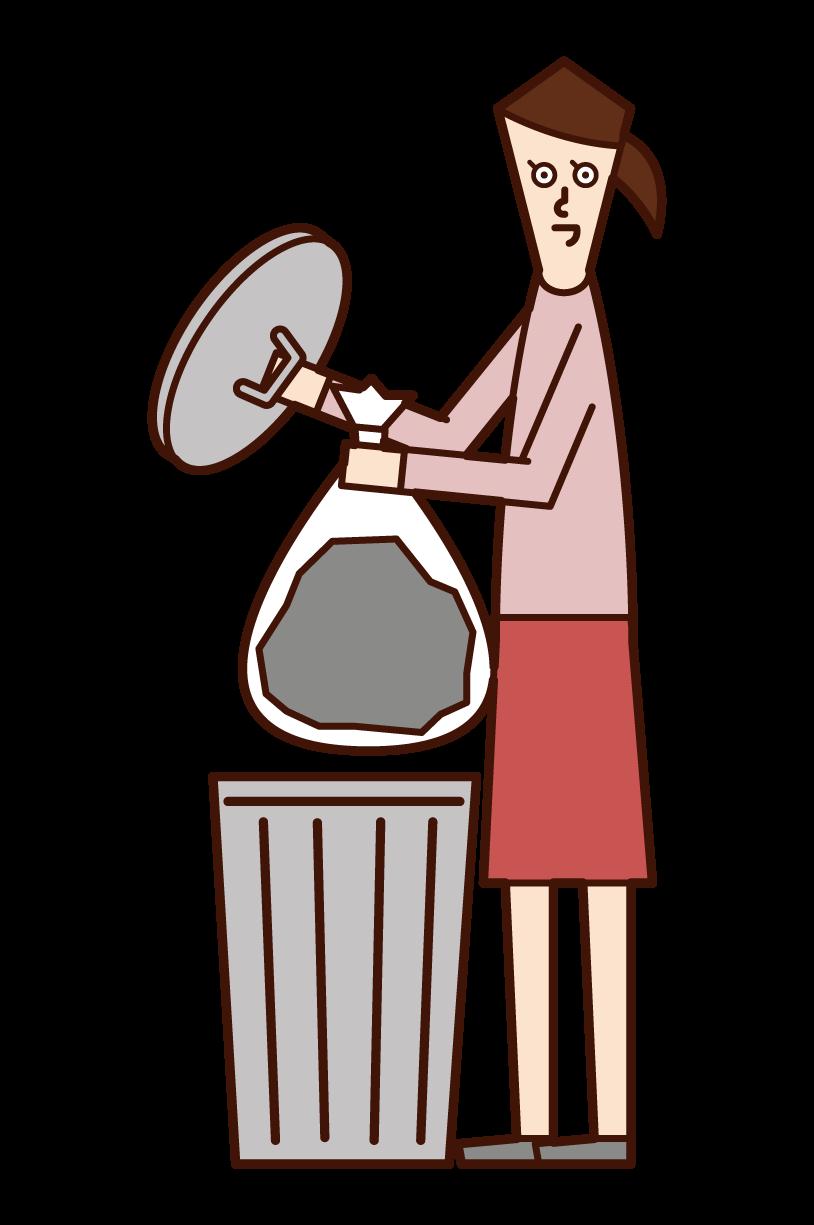 ゴミを捨てる人(女性)のイラスト