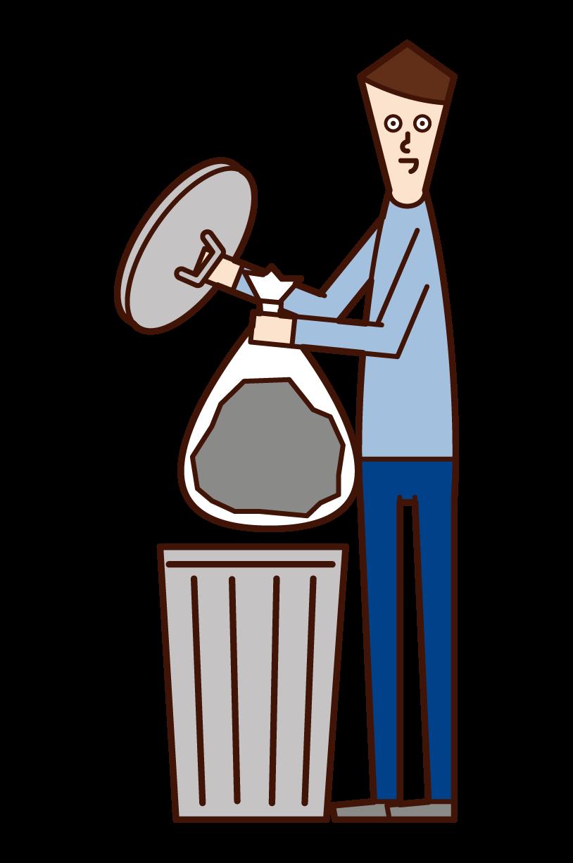 ゴミを捨てる人(男性)のイラスト