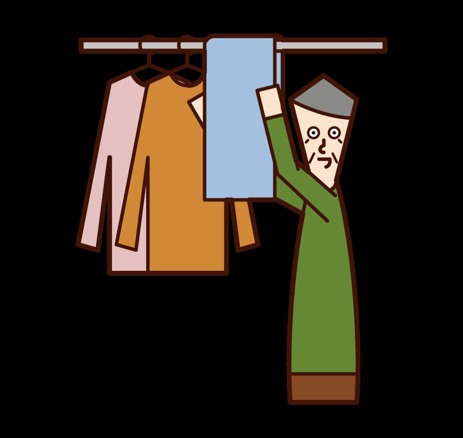 洗濯物を干す人(おじいさん)のイラスト