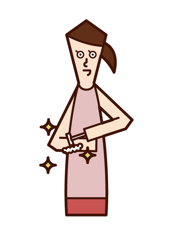 Illustration of a person who shaves the hair of the arm, waste hair treatment (woman)
