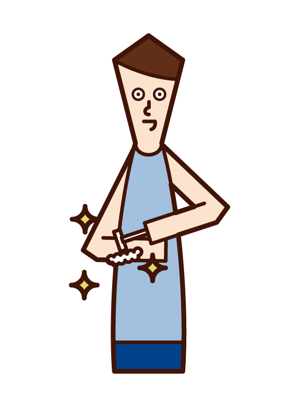 Illustration of a person who shaves the hair of the arm, waste hair treatment (man)