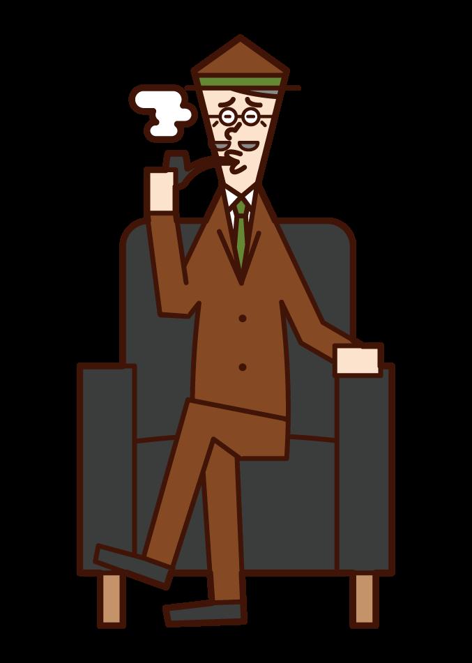 흡연자 (할아버지)의 그림