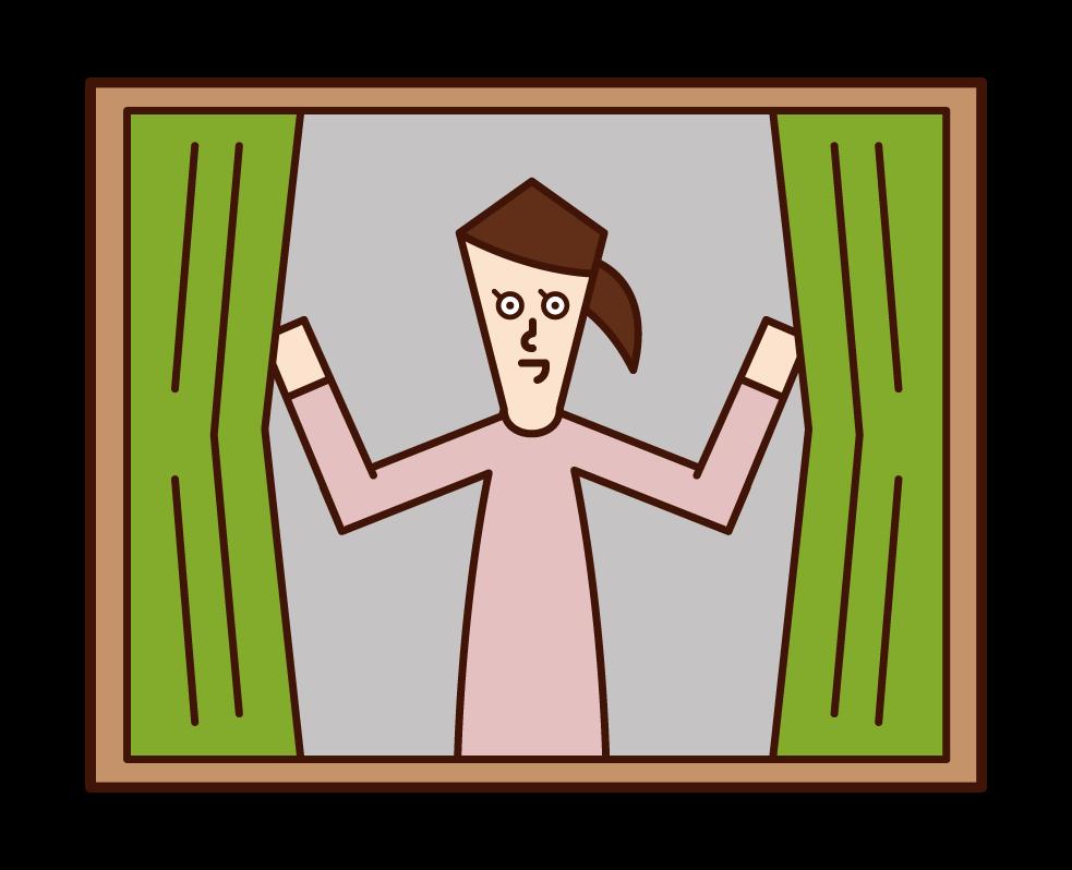 カーテンを開ける人(女性)のイラスト