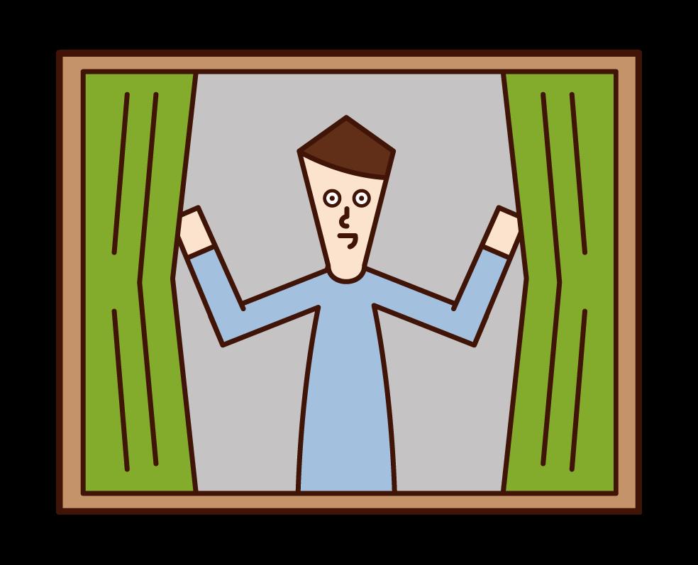 カーテンを開ける人(男性)のイラスト