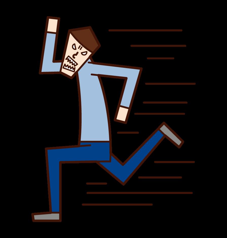 必死で走る人(男性)のイラスト