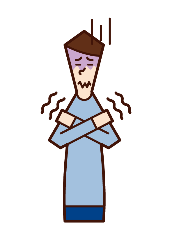 Illustration of a person (male) who feels a chill