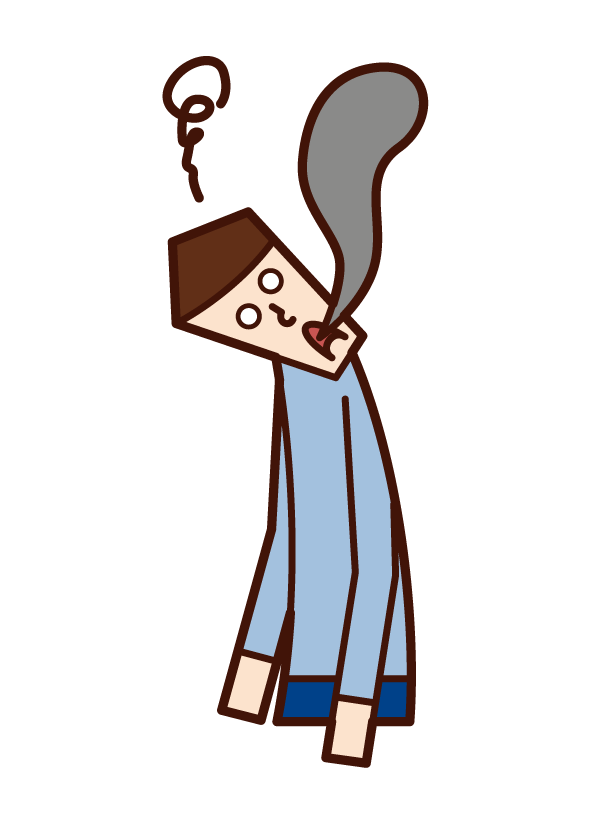 Illustration of a completely burned person (male)