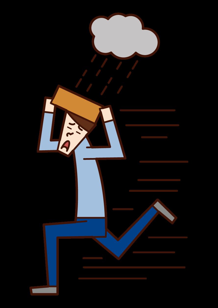 從雨中疏散的人(男性)的插圖