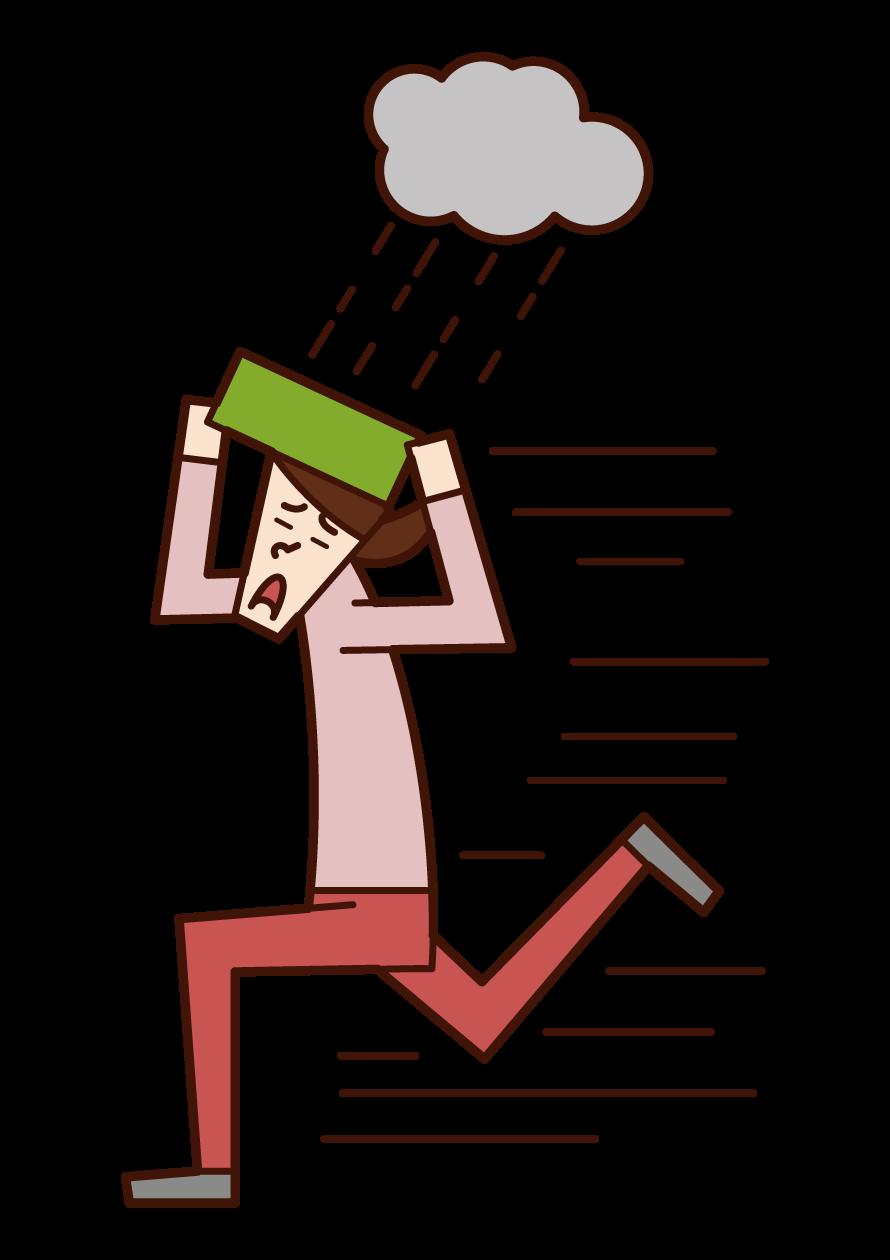 從雨中撤離的人(女性)插圖