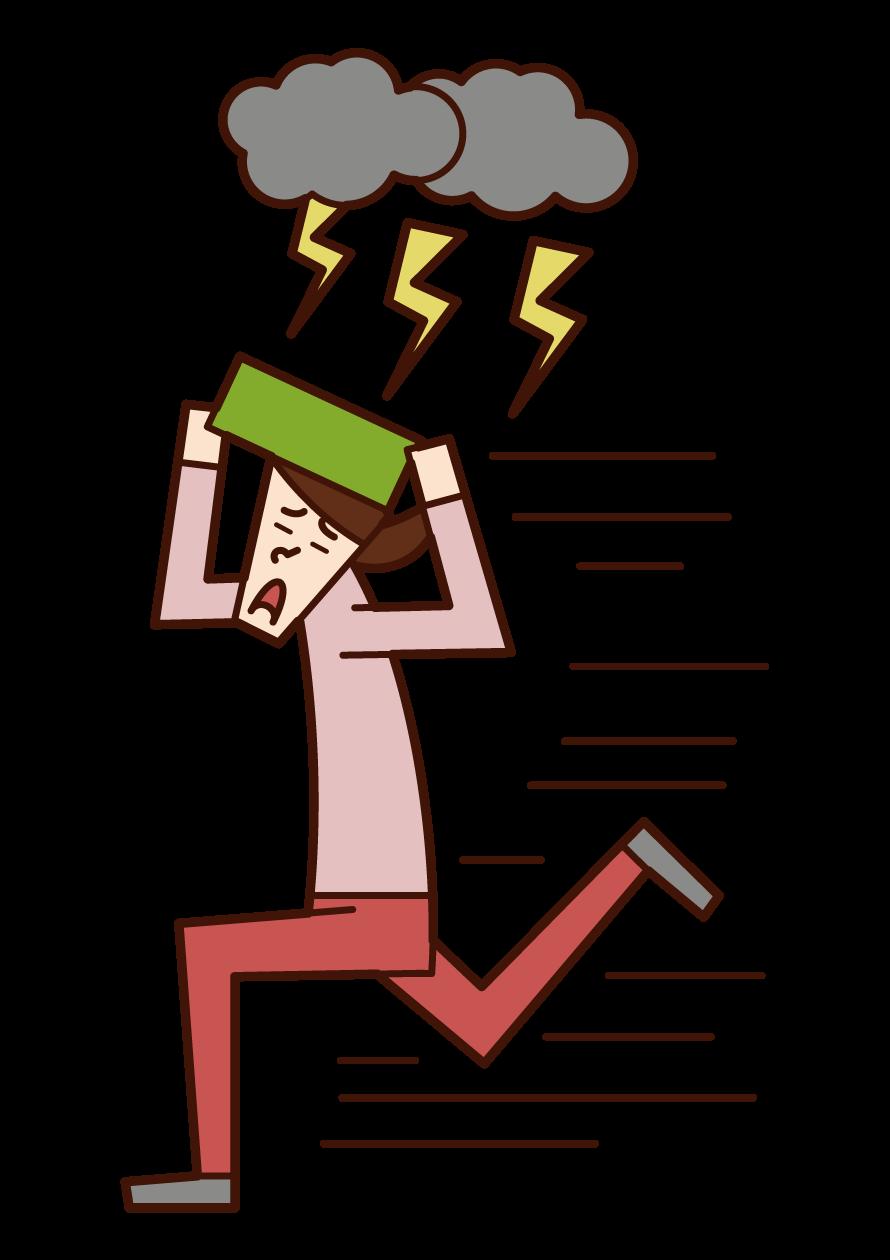 逃離閃電的人(女性)的插圖