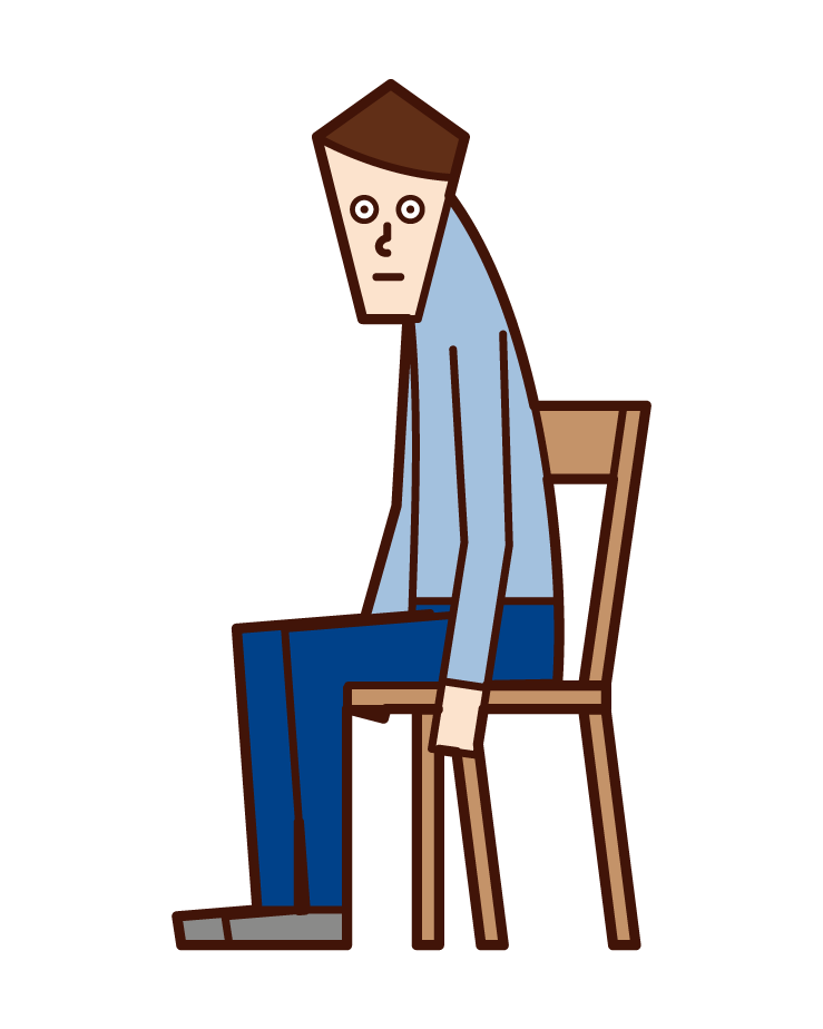 Illustration of a man with a cat back