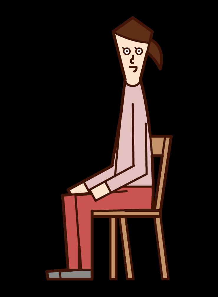 좋은 자세로 사람 (여성)의 그림