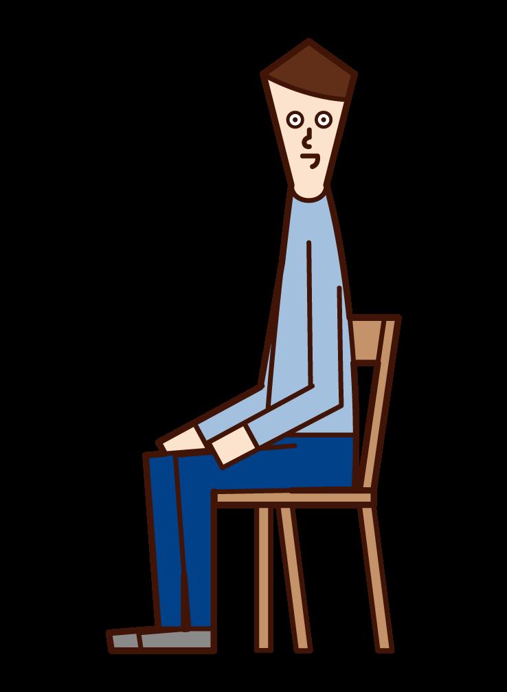 좋은 자세로 사람 (남성)의 그림