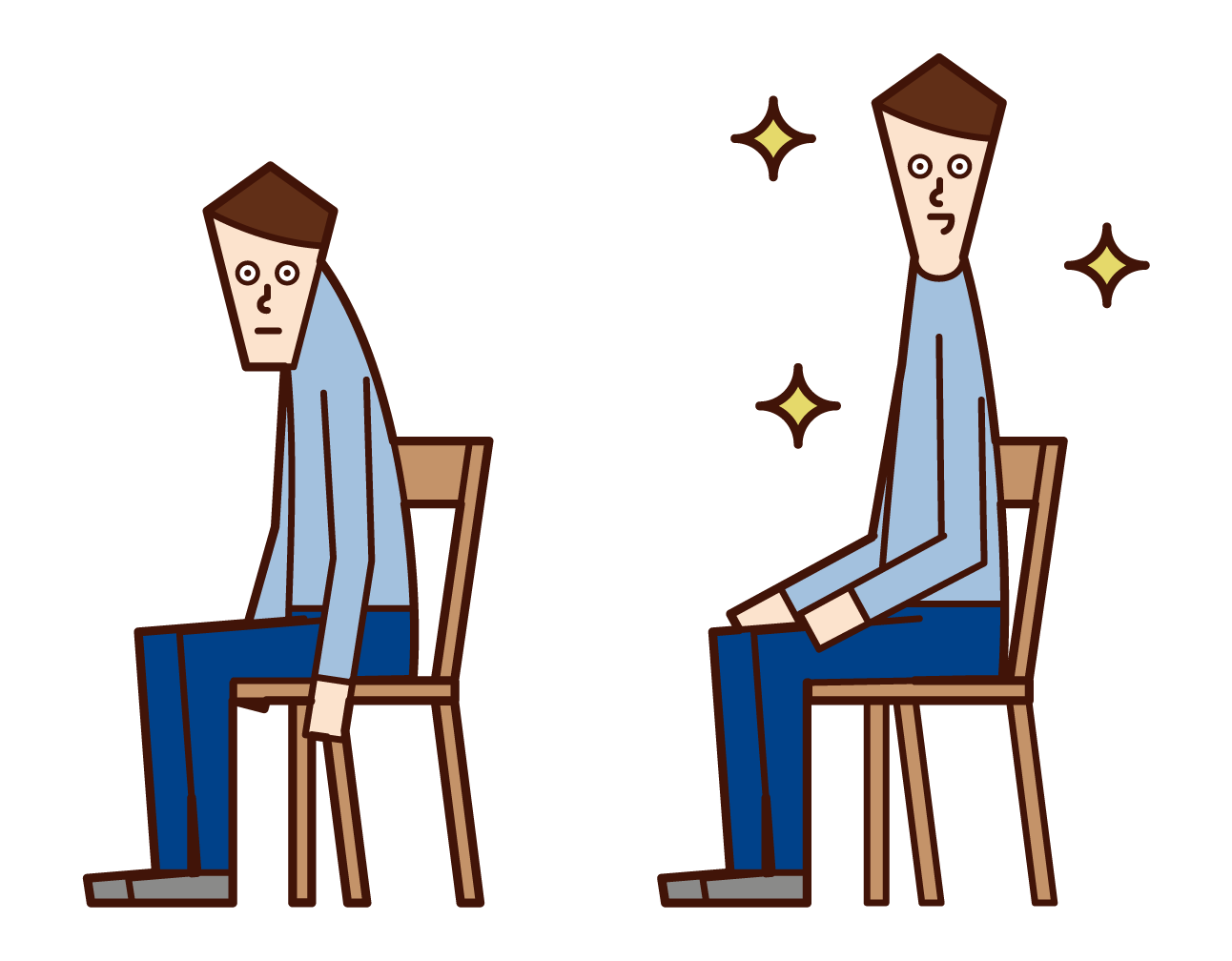 Illustration of a person with a back and a person with a good posture (male)