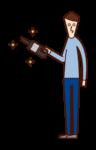 掃除機を使う人(男性)のイラスト