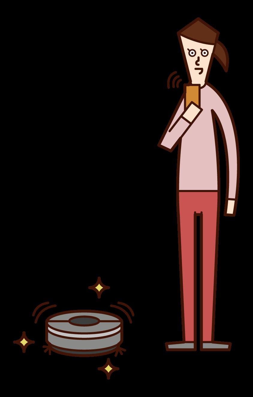 使用清潔機器人的人(女性)的插圖