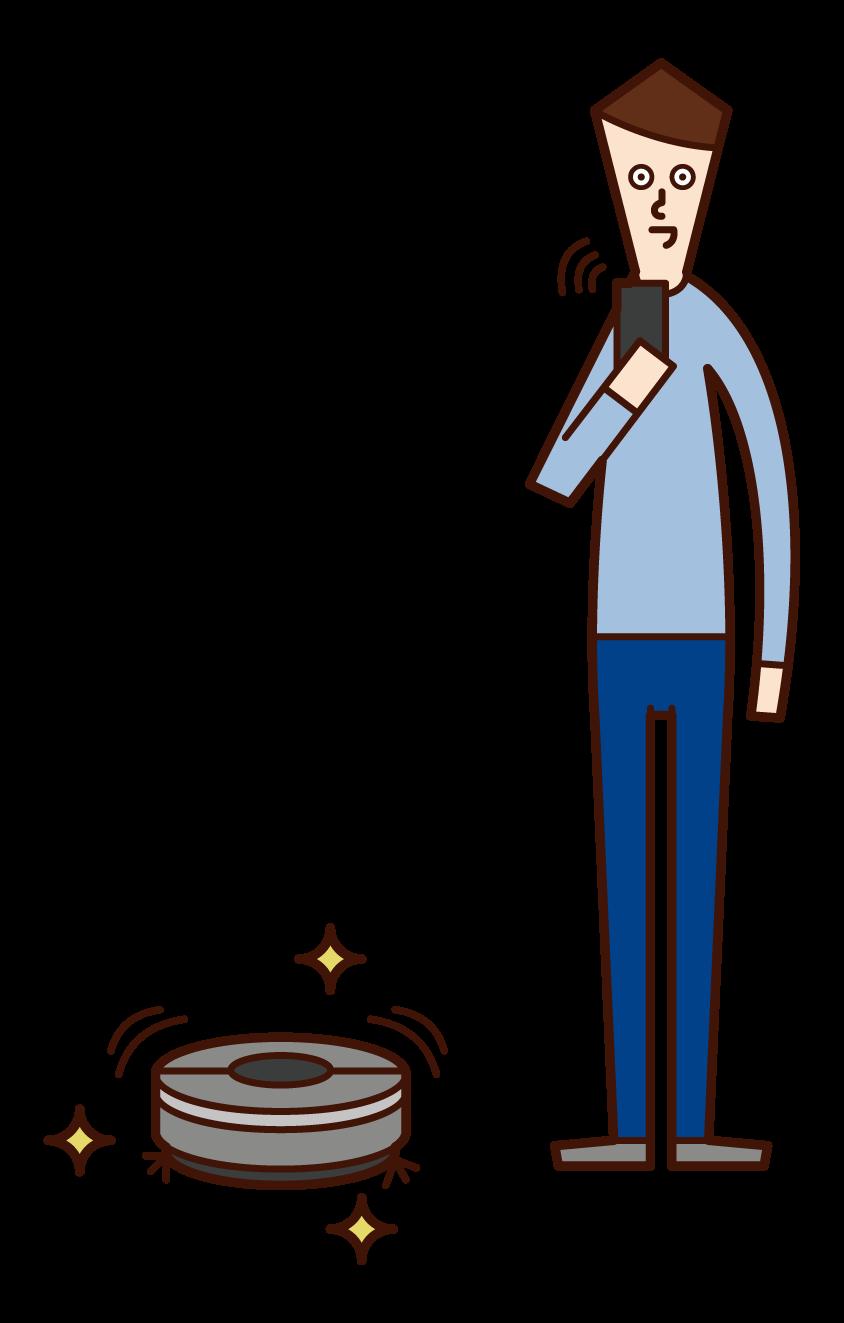 使用清潔機器人的人(男性)的插圖