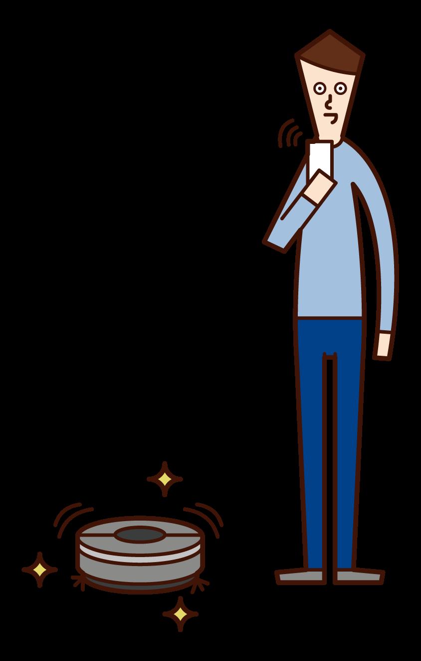 청소 로봇을 사용하는 사람 (남성)의 그림
