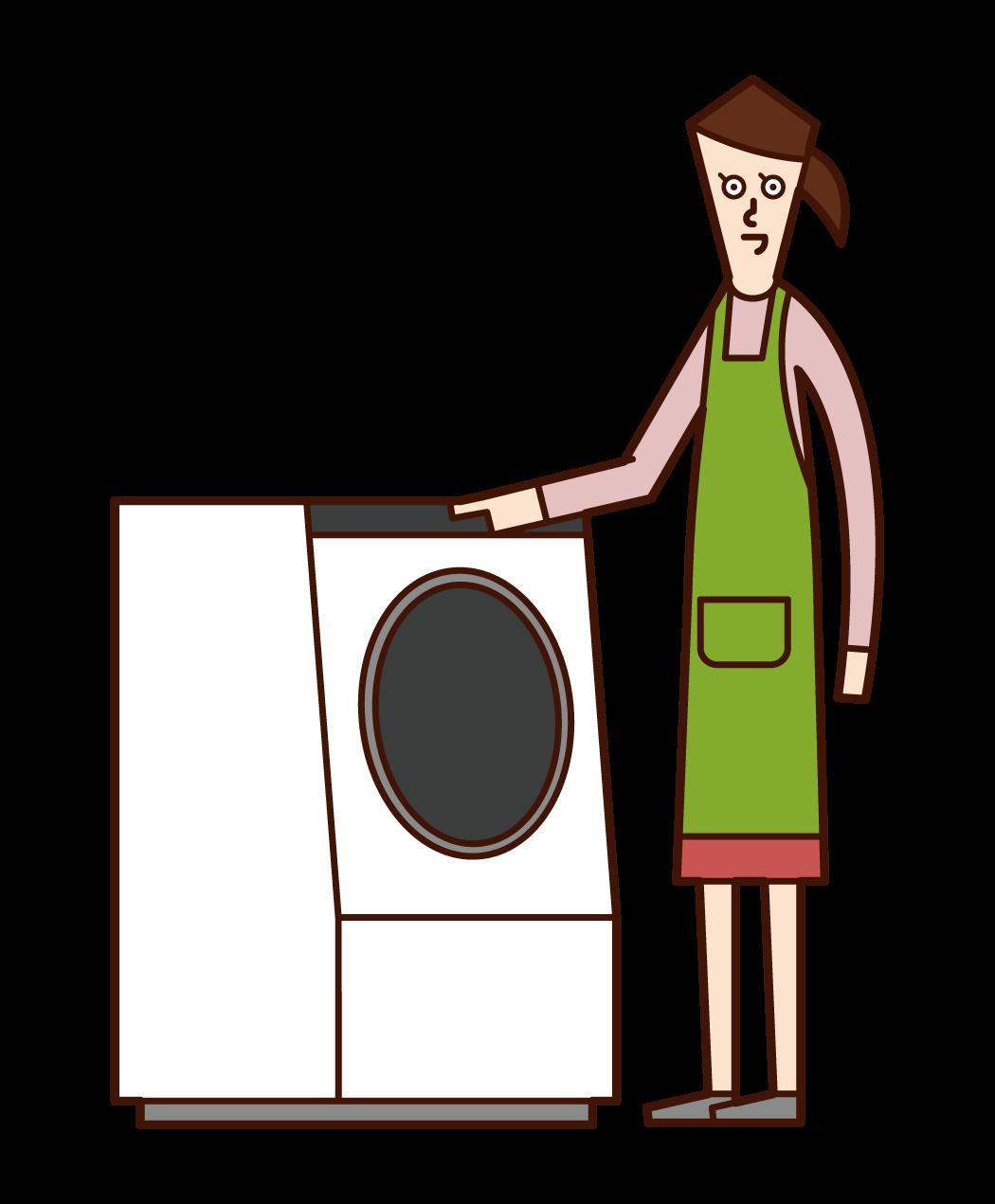 세탁기를 사용하는 사람 (여성)의 일러스트