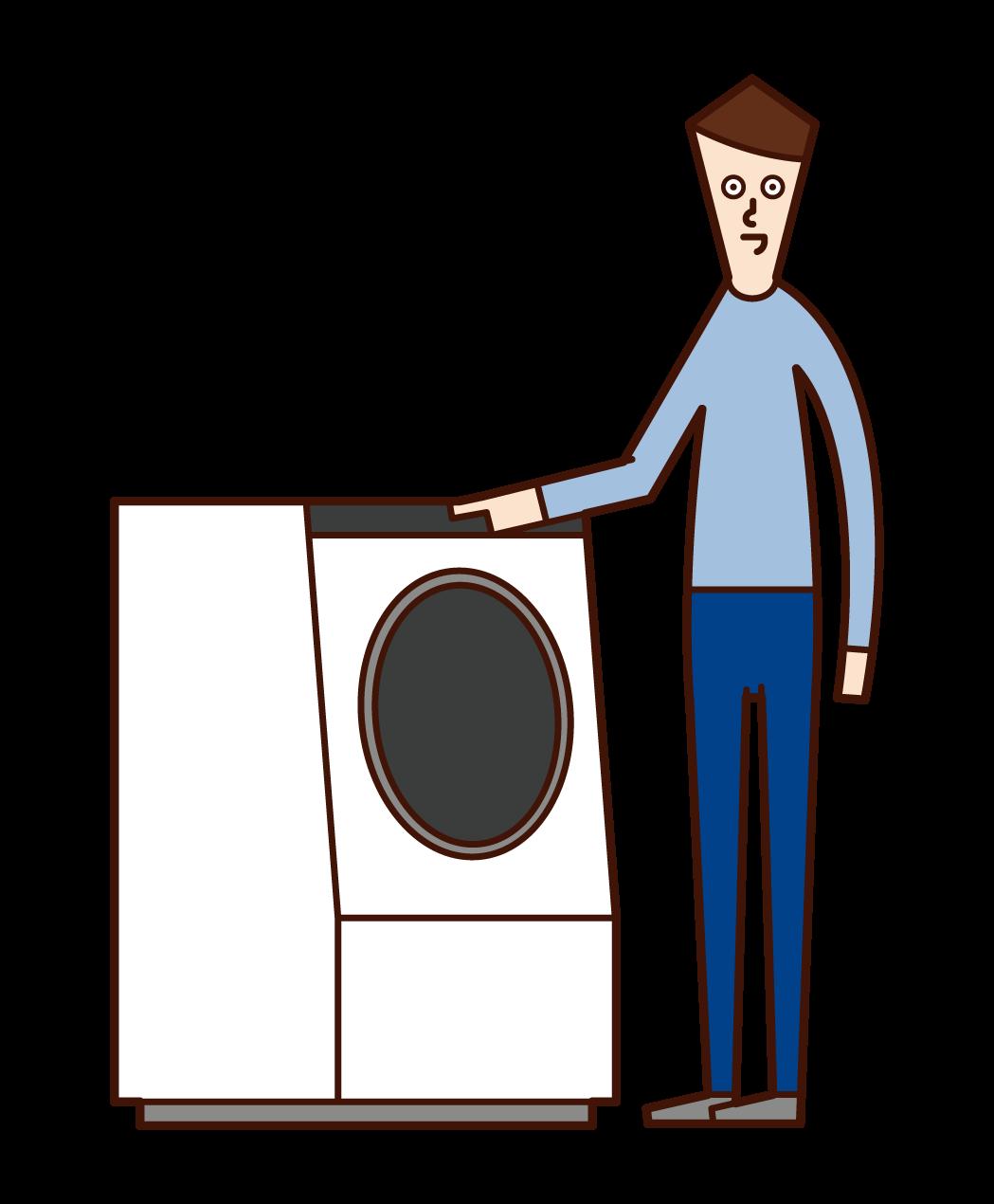 세탁기를 사용하는 사람 (남성)의 그림
