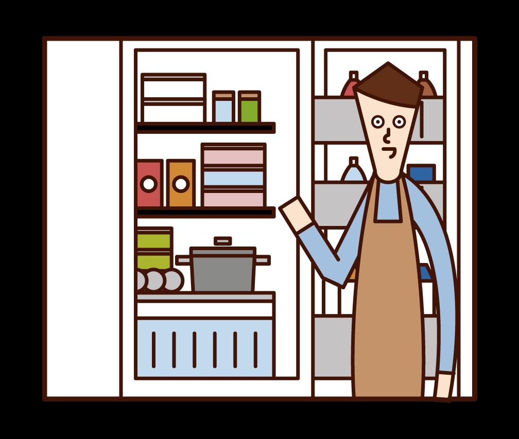 냉장고에서 음식을 꺼내는 사람(남성)의 일러스트