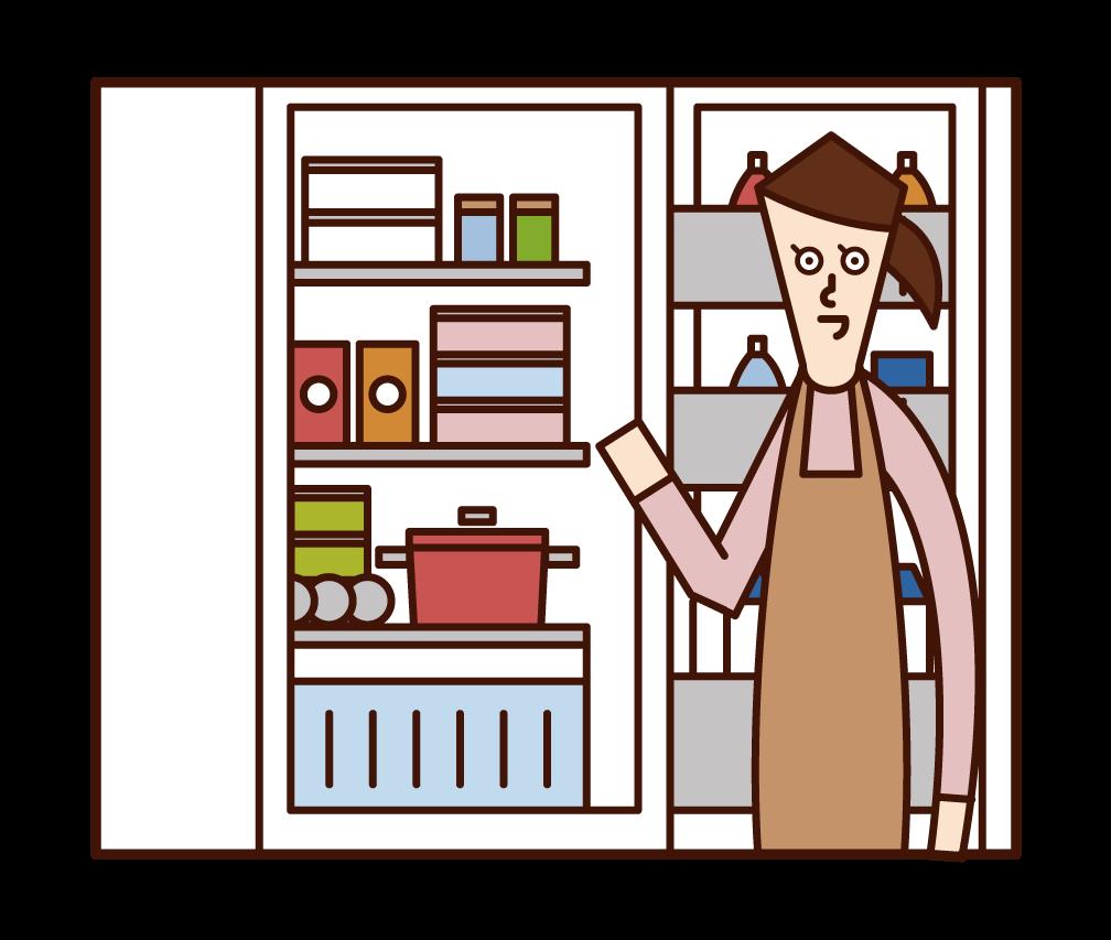 냉장고에서 음식을 꺼내는 사람(여성)의 일러스트