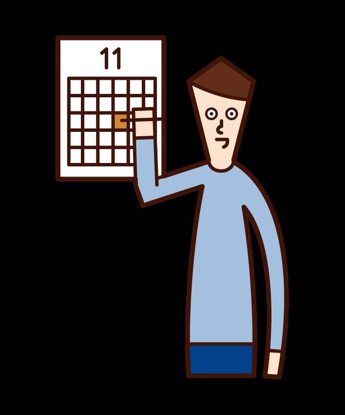 在日曆上做筆記的人(男性)的插圖