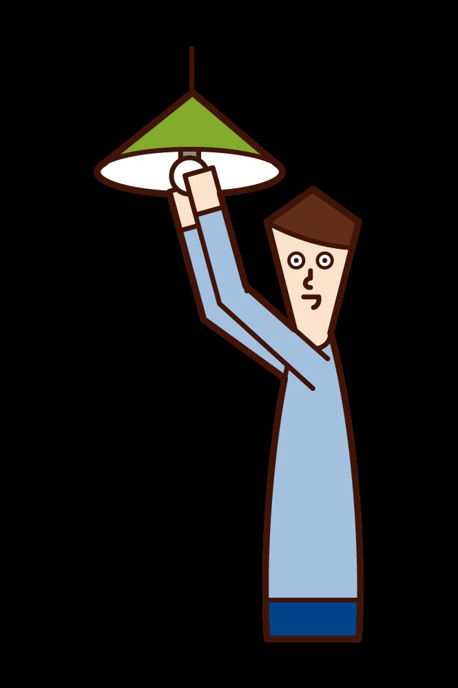 조명 전구를 교체하는 사람 (남성) 그림