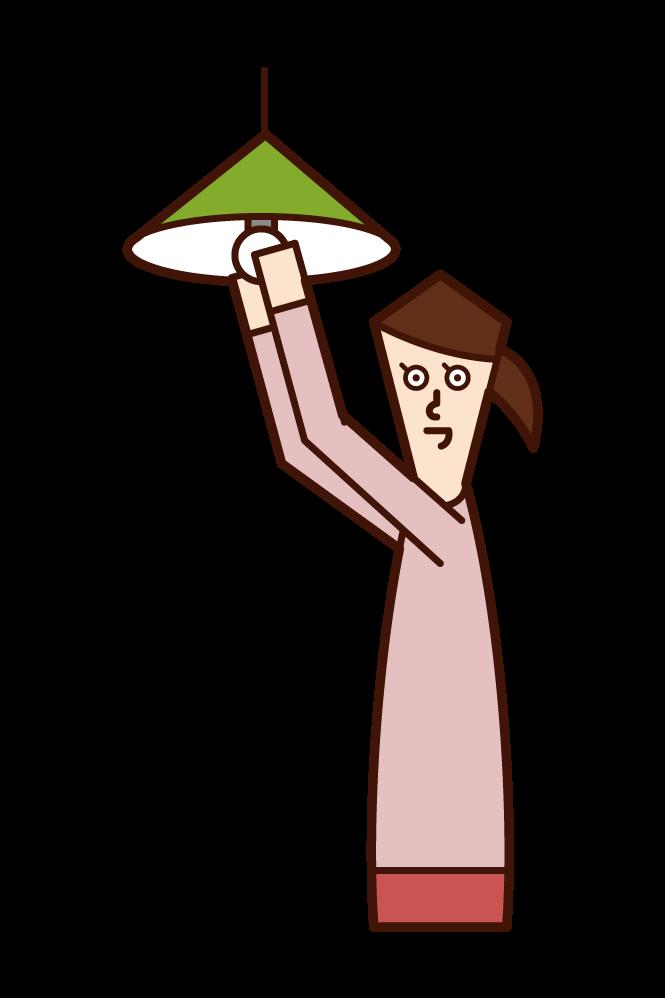 조명 전구를 교체하는 사람 (여성) 그림