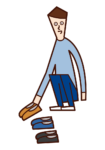 Illustration of a person (male) lining up shoes