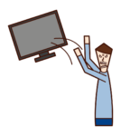 Illustration of a man abandoning a TV
