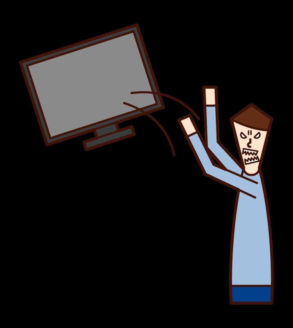 TV를 버리는 사람 (남성)의 그림