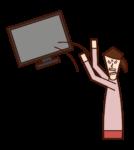Illustration of a woman abandoning a TV
