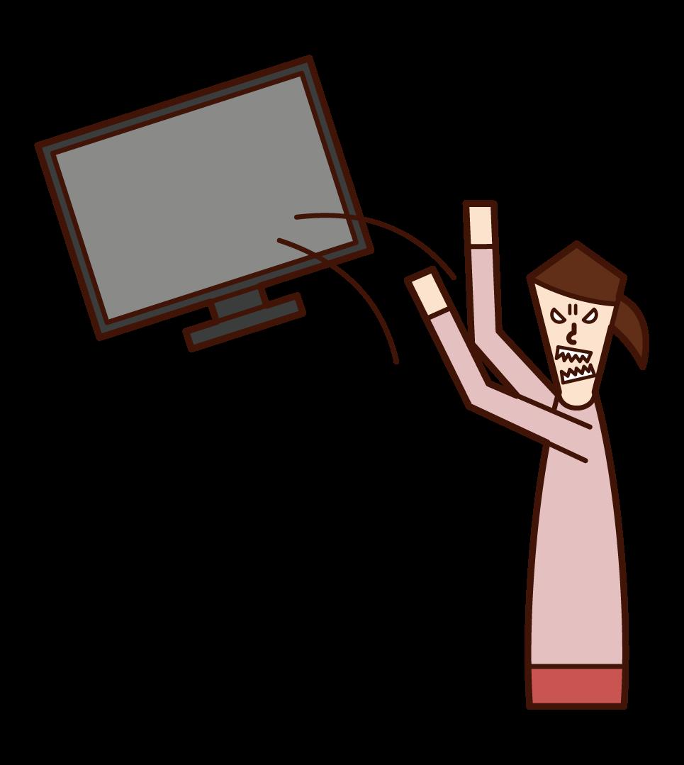 TV를 버리는 사람 (여성)의 그림